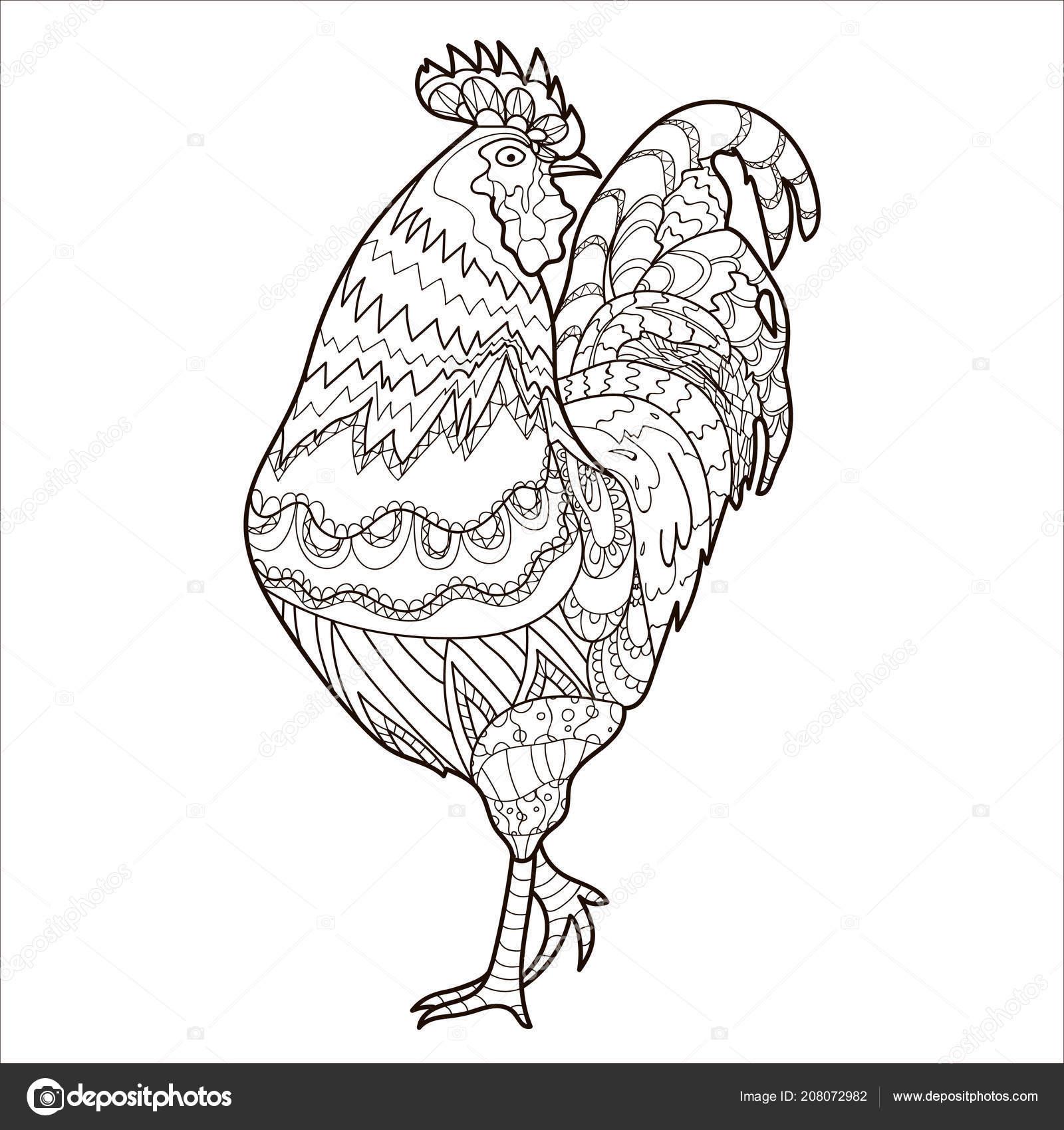Horoz Boyama Sayfası Boyama Kitabı Tavuk Desen Vektör Stok Vektör