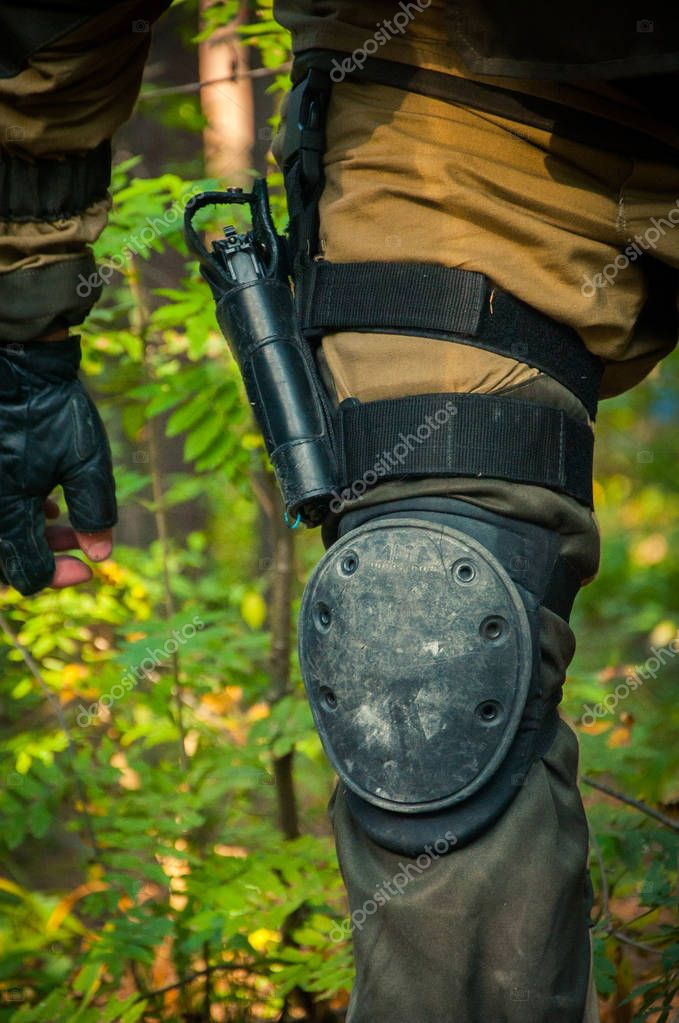 Military in the forest. Sport and adventure
