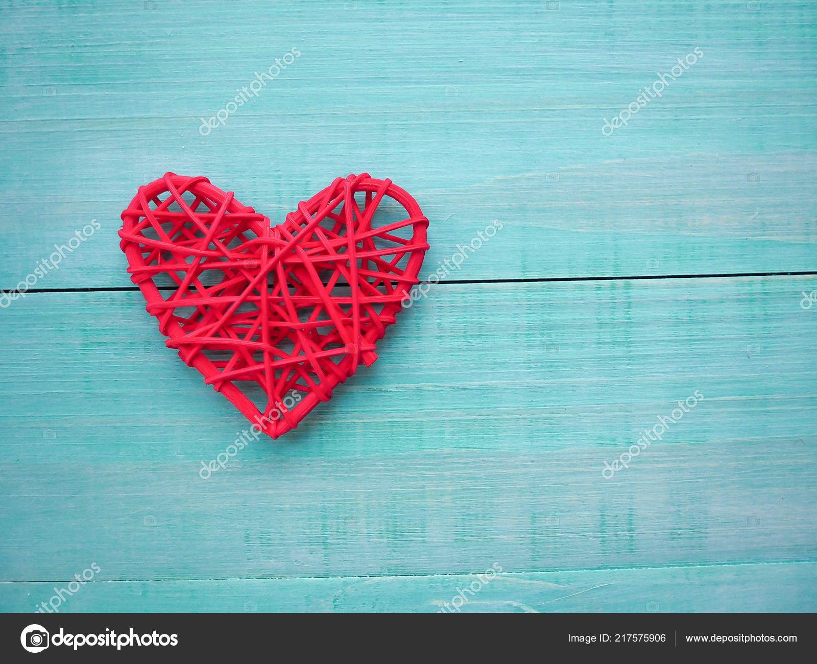 Lots Little Flowers Red Heart Beautiful Blue Turquoise Background