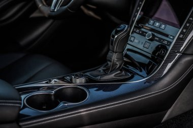 MOSCOW, RUSSIA - SEPTEMBER 1, 2017 INFINITI Q60 coupe car, interior view. Test of new car - Infiniti Q60 Coupe. Business-class saloon and V6 engine. The premium sports coupe. 405-horsepower V6 engine.