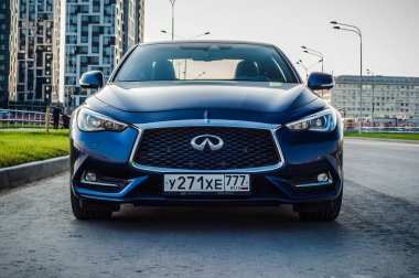 MOSCOW, RUSSIA - SEPTEMBER 1, 2017 INFINITI Q60 coupe car, front-side view. Test of new car - Infiniti Q60 Coupe. Business-class saloon and V6 engine. The premium sports coupe. 405-horsepower V6 engine.