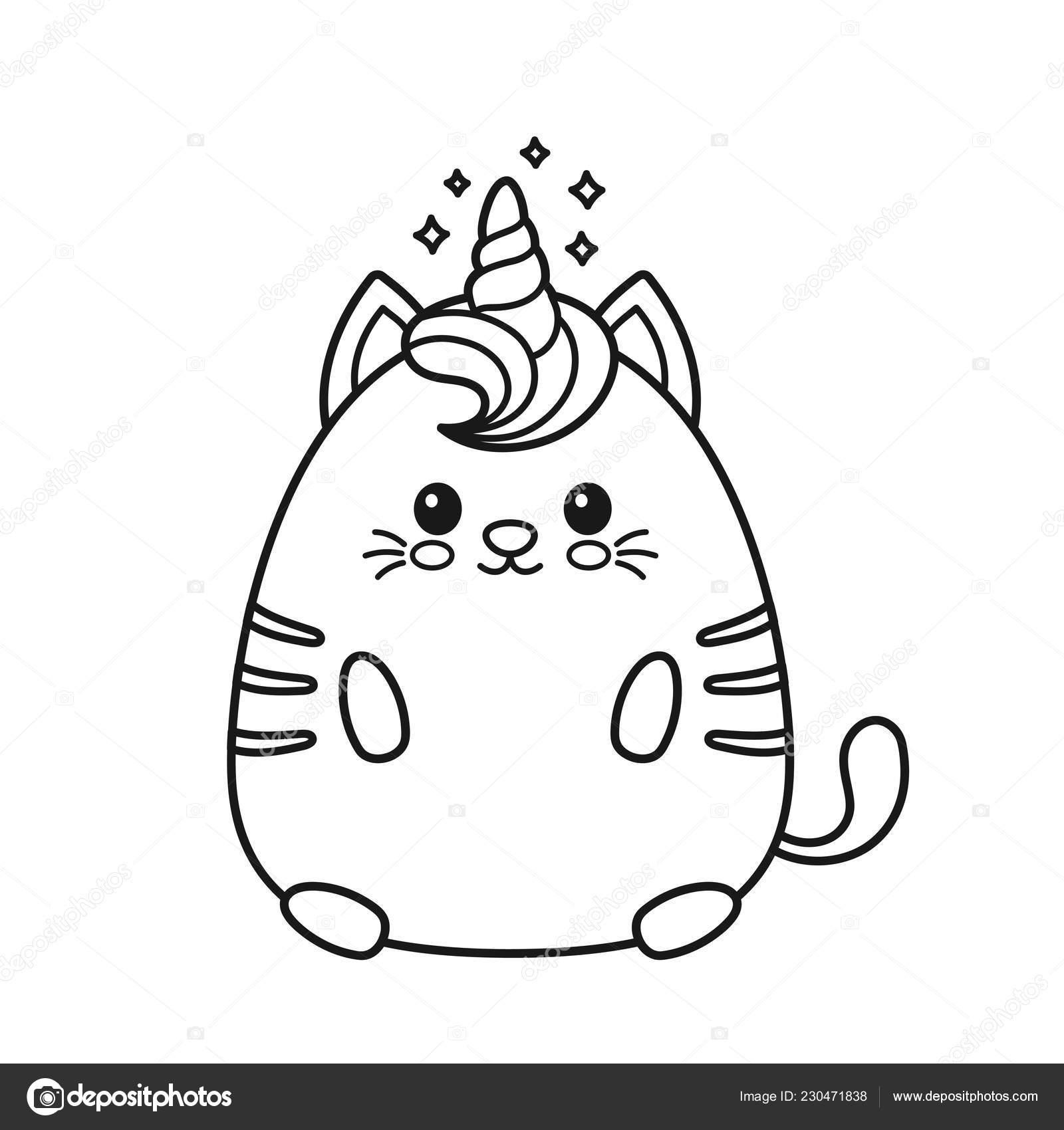 Мило счастливый улыбающийся Единорог кошка — Векторное ...