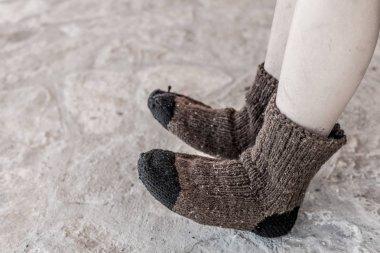 Boy in Traditional Handmade Knitted Wool Socks