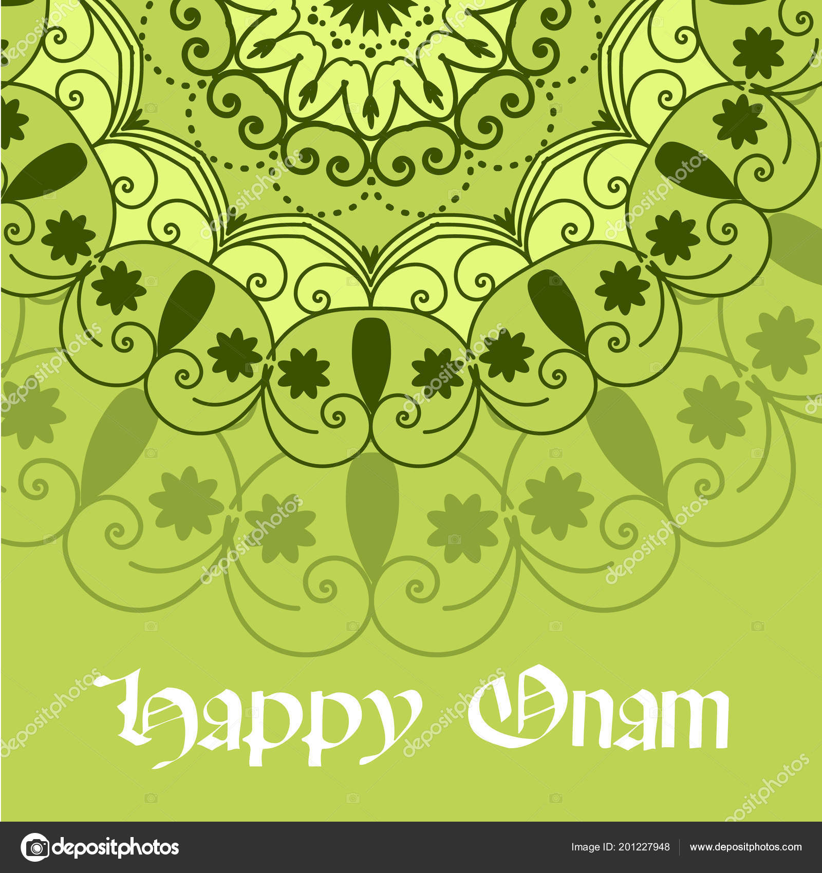 Beautiful Onam Festival Abstract Mandala Designs Greeting Card