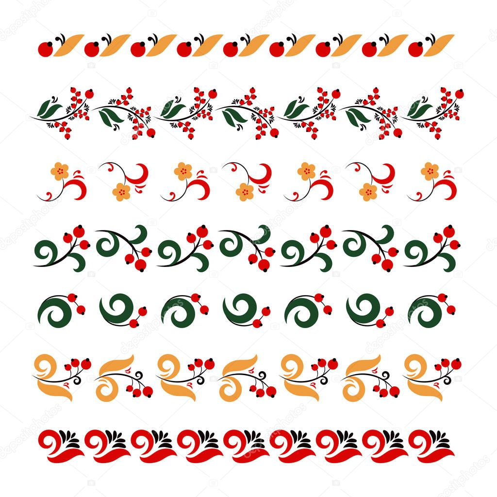 Set of traditional embroidery. Vector illustration of ethnic seamless ornamental patterns. Traditional Russian frames set in khokhloma style. For banner, card, poster, invitation, label, menu.