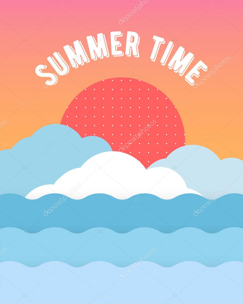 Unique artistic summer card with bright gradient background,shapes and geometric elements .Abstract design cards perfect for prints,flyers,banners,invitations,special offer and more.