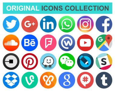 Set of popular circle social media and other icons: Facebook, Twitter, Instagram, WhatsApp, Pinterest, Youtube, Line and others