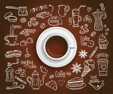 Coffee cup with set of Coffee drink icons in doodle style