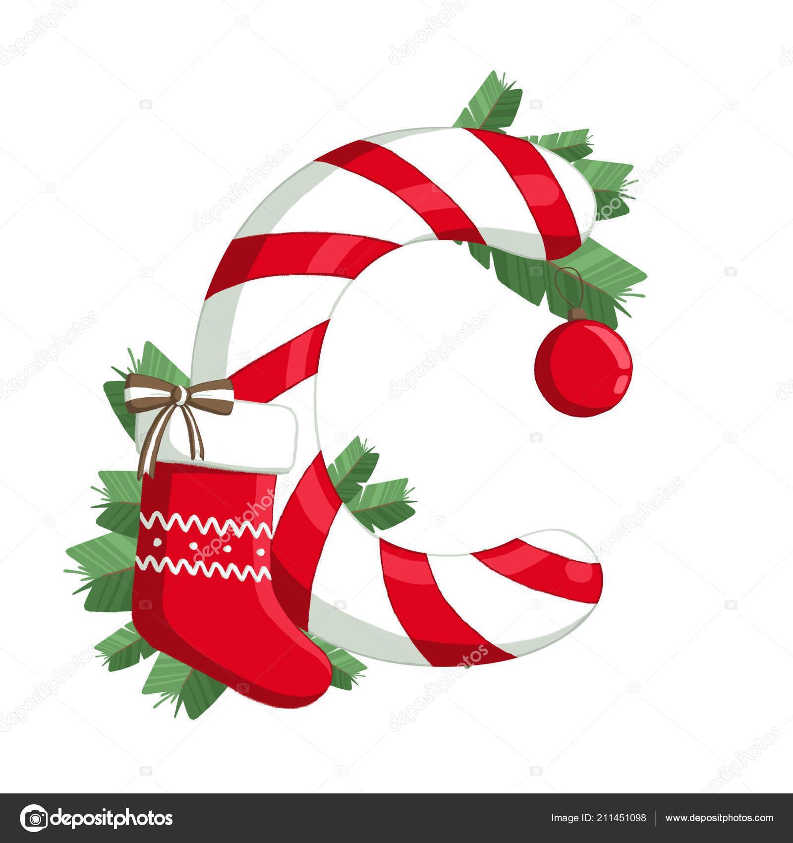 Christmas Alphabet.Christmas Alphabet Illustration Letter Tree Sock Decorations