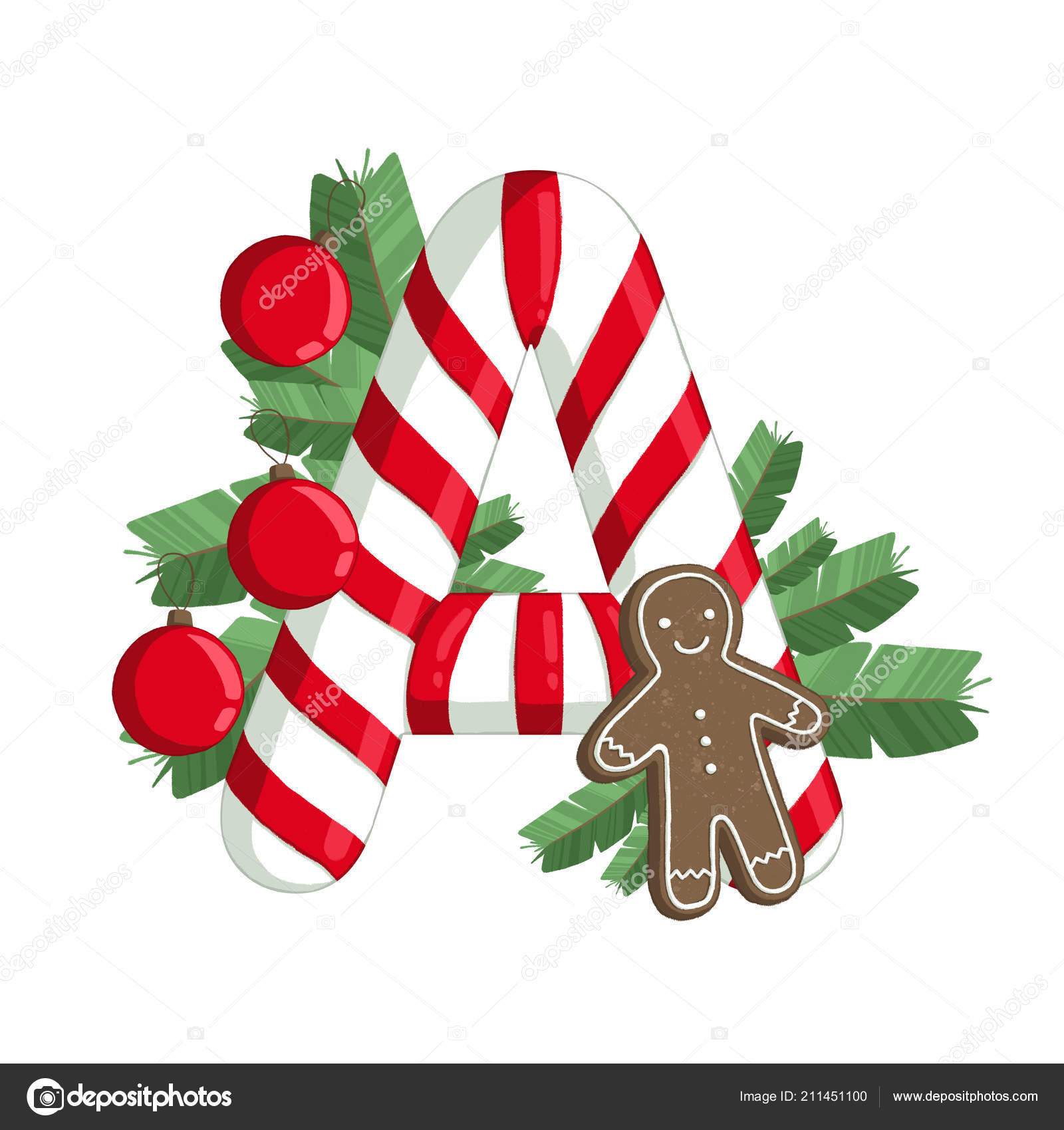 Christmas Alphabet.Christmas Alphabet Illustration Letter Tree Cookie