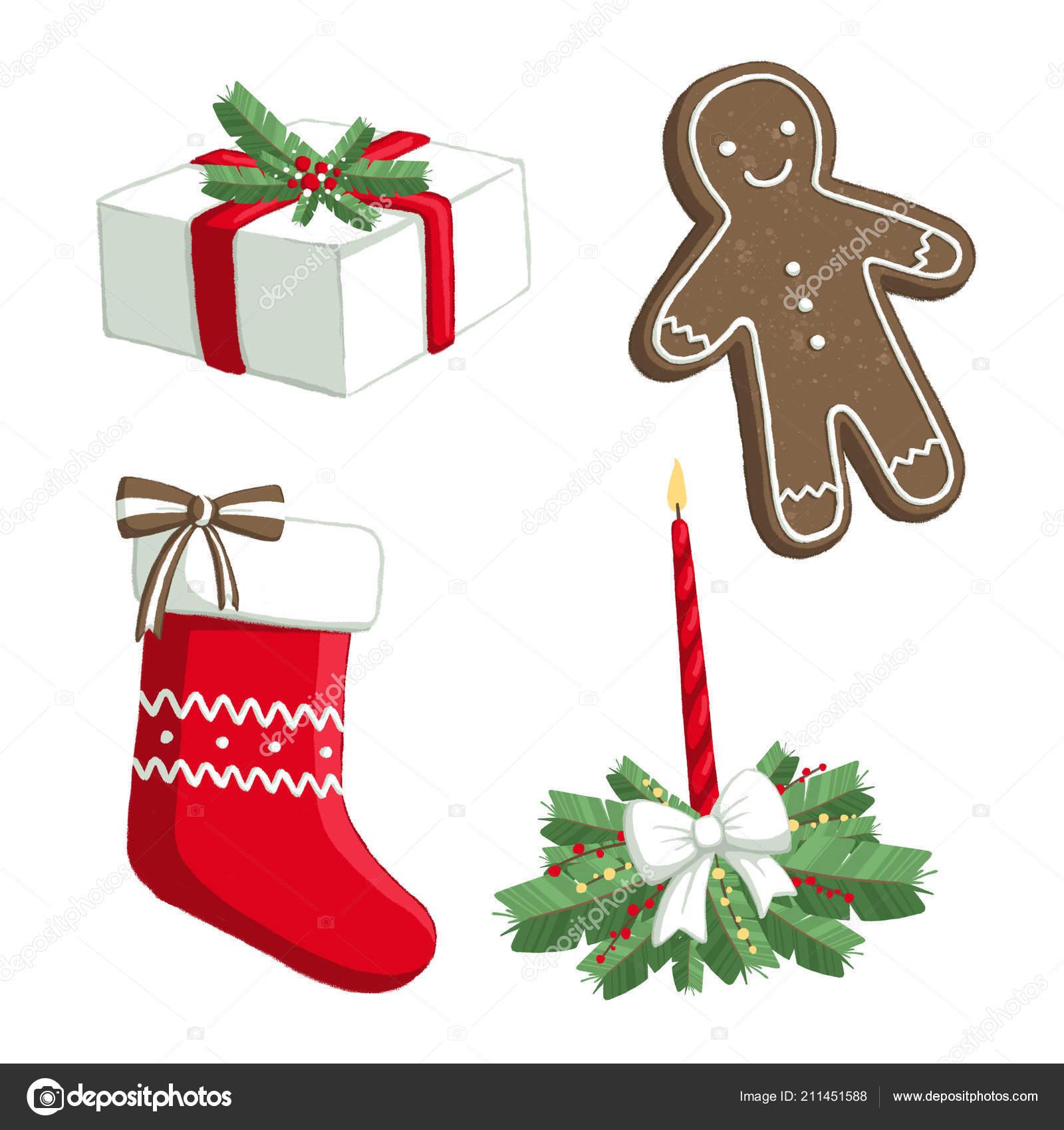 Isolierte Weihnachten Abbildung Set Mit Geschenk Socke Kerze ...