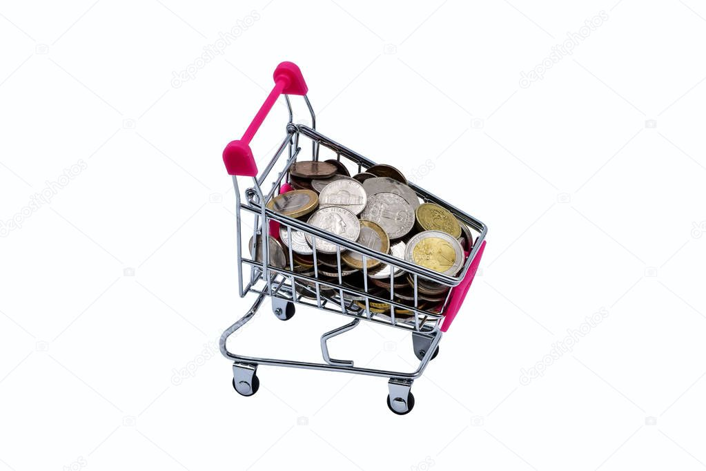 Variation of small shopping cart or mini supermarket trolley isolated on white background, trolley with coins of the whole world.