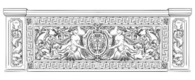 Ancient carving botanical and marine vignette with mermaids from Liteyny bridge in St. Petersburg, vector hand drawing illustration in black color isolated on white background