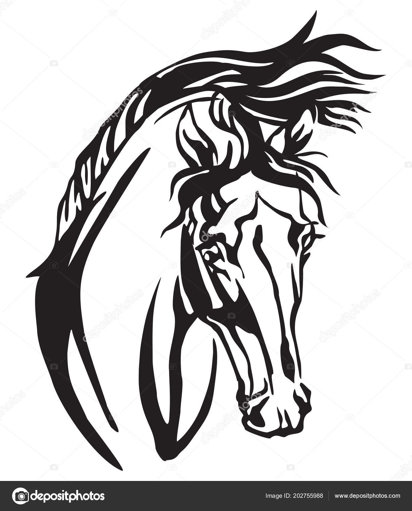 Arabian Horse Tattoo Design Decorative Portrait Arabian Horse Vector Isolated Illustration Black Color White Stock Vector C Alinart 202755988