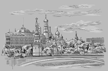 Cityscape of embankment of Kremlin towers and bridge across Moscow river (Red Square, Moscow, Russia) isolated vector hand drawing illustration in black and white colors on grey background