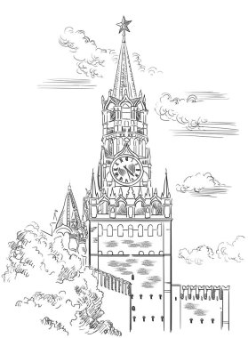 Cityscape of Kremlin Spasskaya tower (Red Square, Moscow, Russia) isolated vector hand drawing illustration in black color on white background