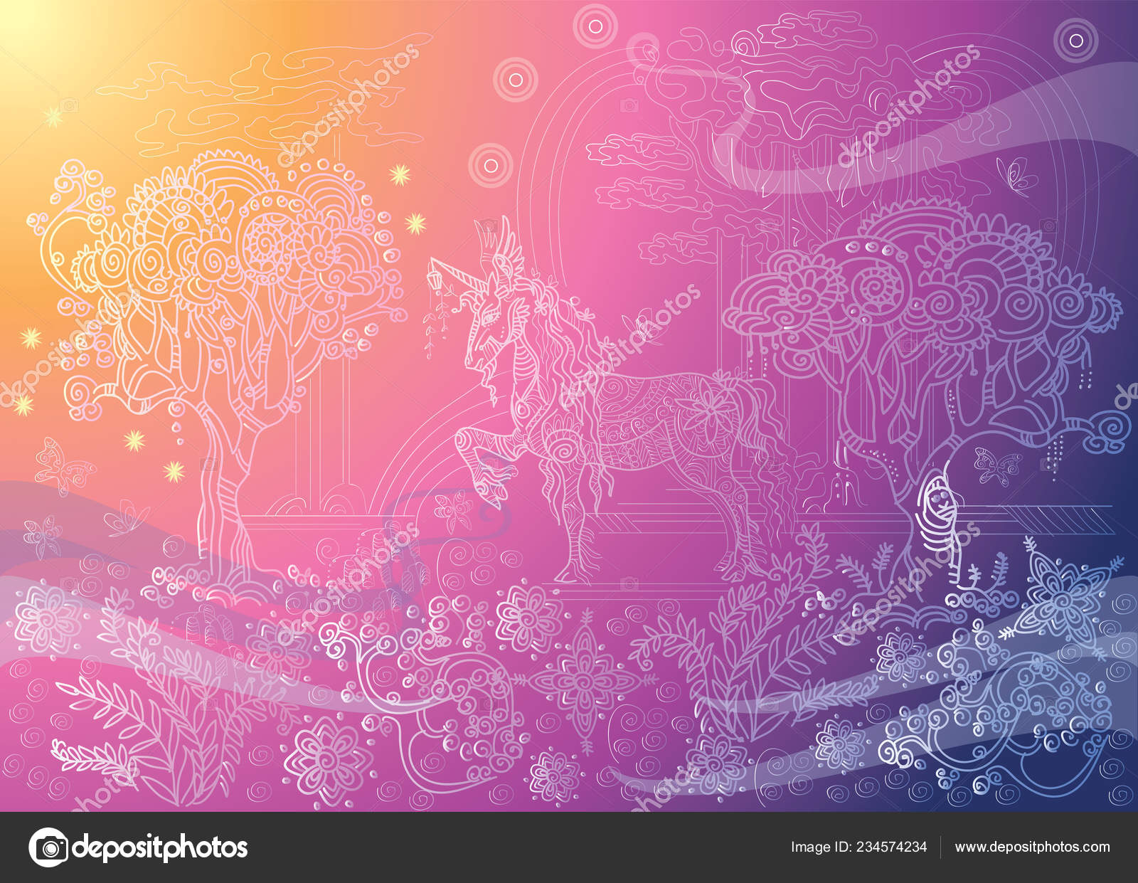 Vector Hand Drawing Illustration Zentangle Magic Horse Different Colors Isolated Stock Vector C Alinart 234574234