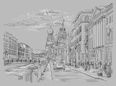 Cityscape of Church of the Savior on Blood in Saint Petersburg, Russia and embankment of river. Isolated vector hand drawing illustration in black and white colors on grey background. clip art vector