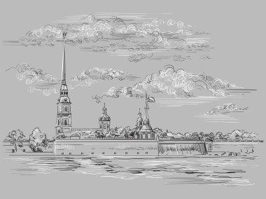 Grey vector hand drawing ST Petersburg 6