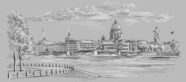 Grey vector hand drawing ST Petersburg 8