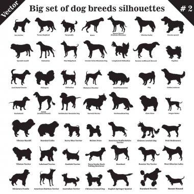 """Картина, постер, плакат, фотообои """"Векторные собаки силуэты 2"""", артикул 257297452"""