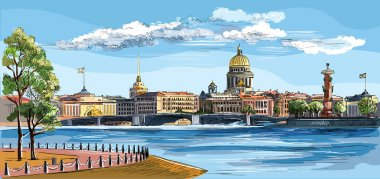 Colorful vector hand drawing ST Petersburg 8