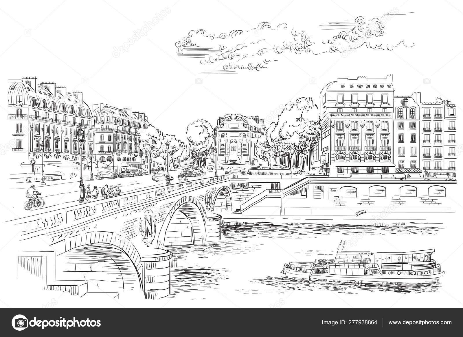 Vector Hand Drawing Paris 7 Stock Vector C Alinart 277938864