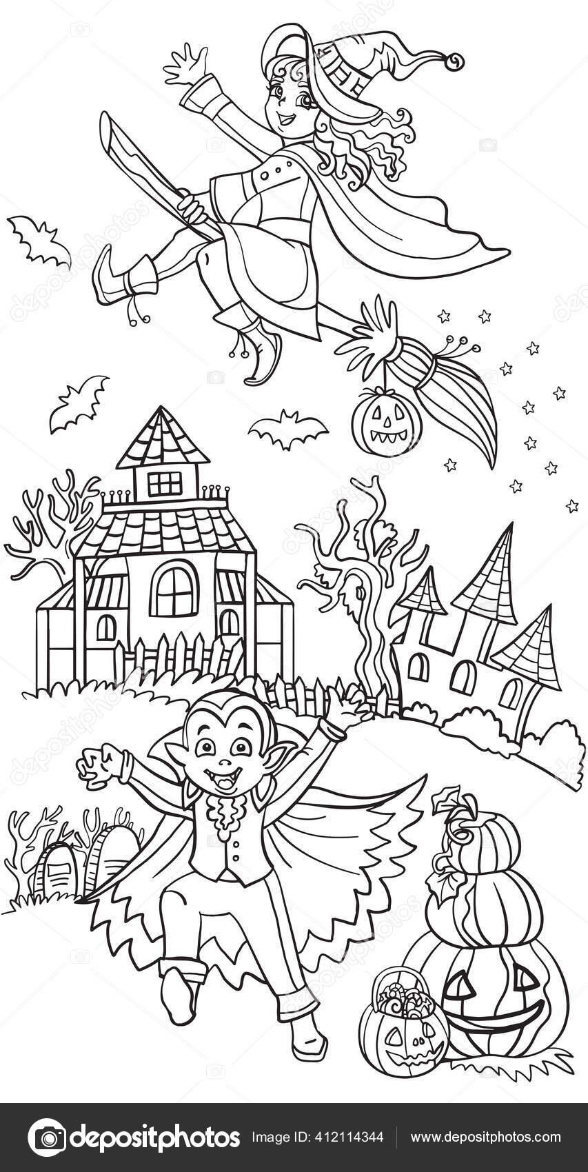 Cartoon Halloween Illustration Vector Coloring Pages Happy Children Costumes Vampire Vector Image By C Alinart Vector Stock 412114344