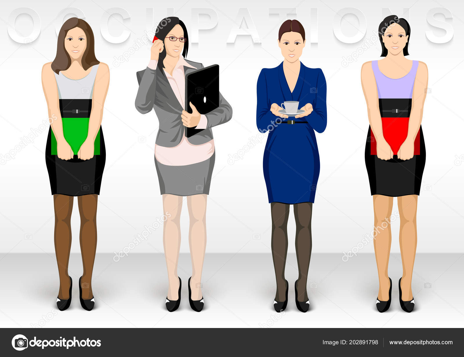 Business Ocupation Women Character Icons Show Dress Office