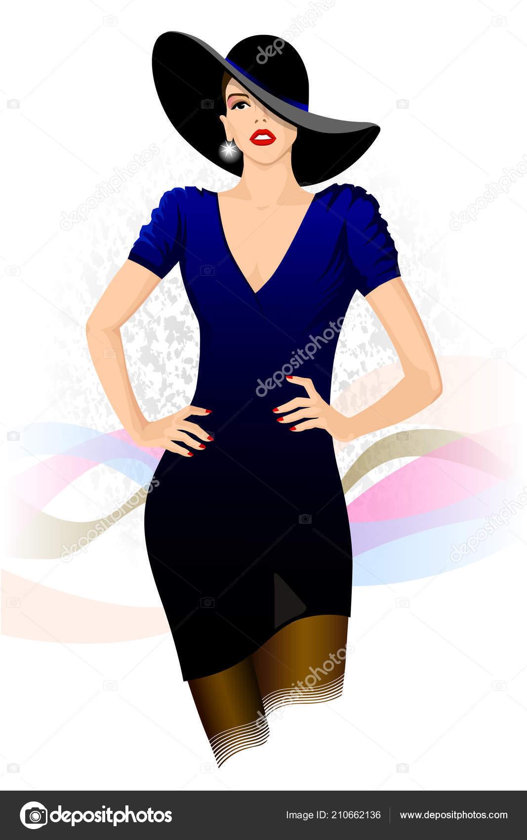 Ilustración Moda Mujer Glamour Vestido Azul Oscuro Sombrero