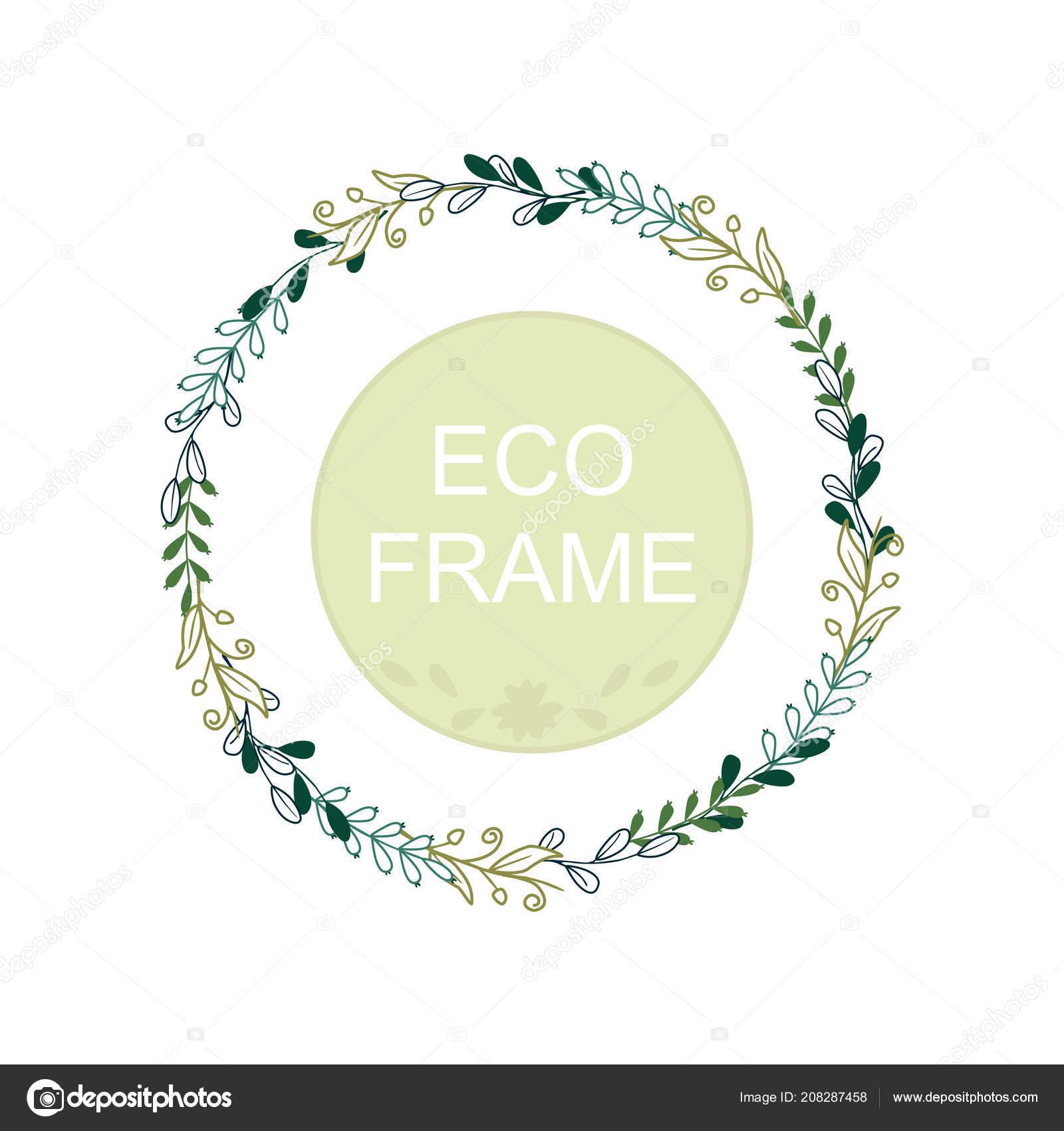 Eco Frame Wreath Greeting Card Design Wedding Invitations Logos