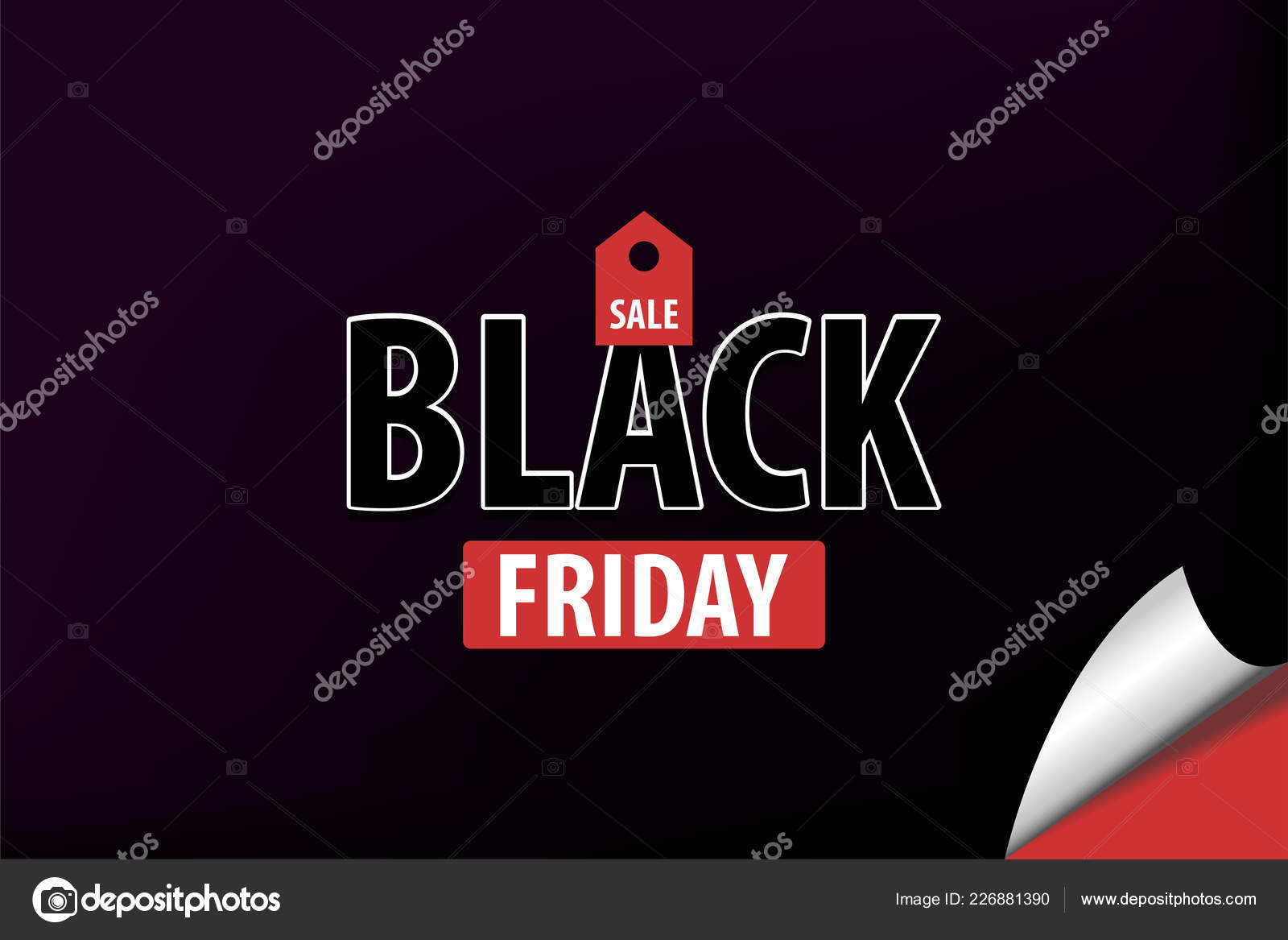 0f6370bf2 Preto marca de promo vermelho escuro venda sexta-feira — Vetor de Stock