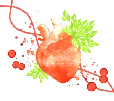 abstarct blood donor concept  with watercolor heart and blood drops with