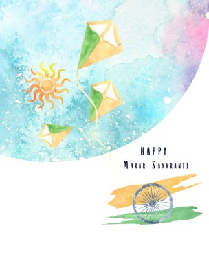 watercolor image for Makar Sankranti celebration in India with flag and kites in the sky