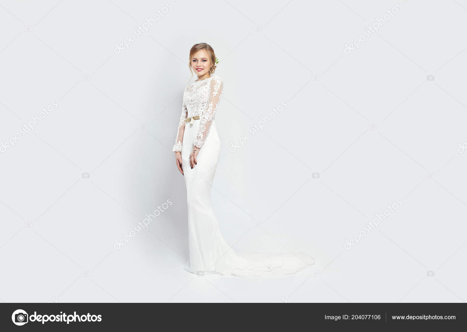 Bride woman long white wedding dress white background luxurious bride woman in long white wedding dress on a white background luxurious dress in a woman body girl is preparing to marry perfect figure and dress women junglespirit Images