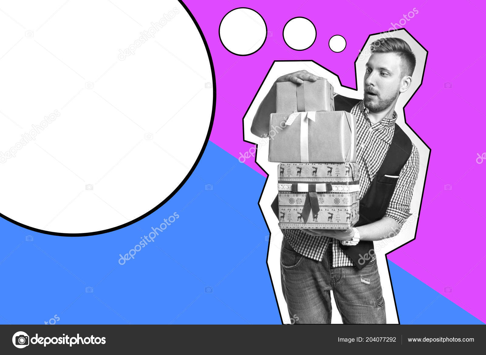 Inscription Template Man Holding Box Christmas Gifts Hands Bearded