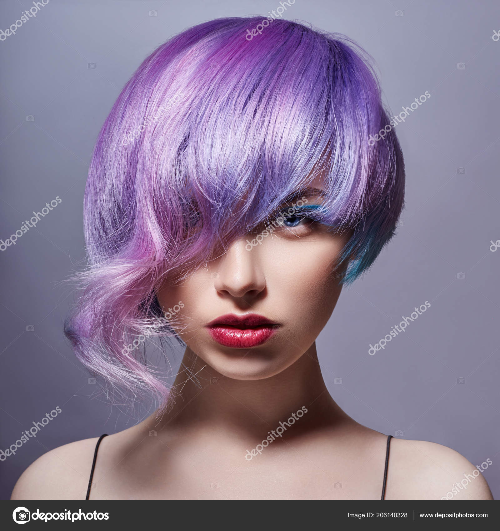 Portrait Woman Bright Colored Flying Hair All Shades Purple Hair