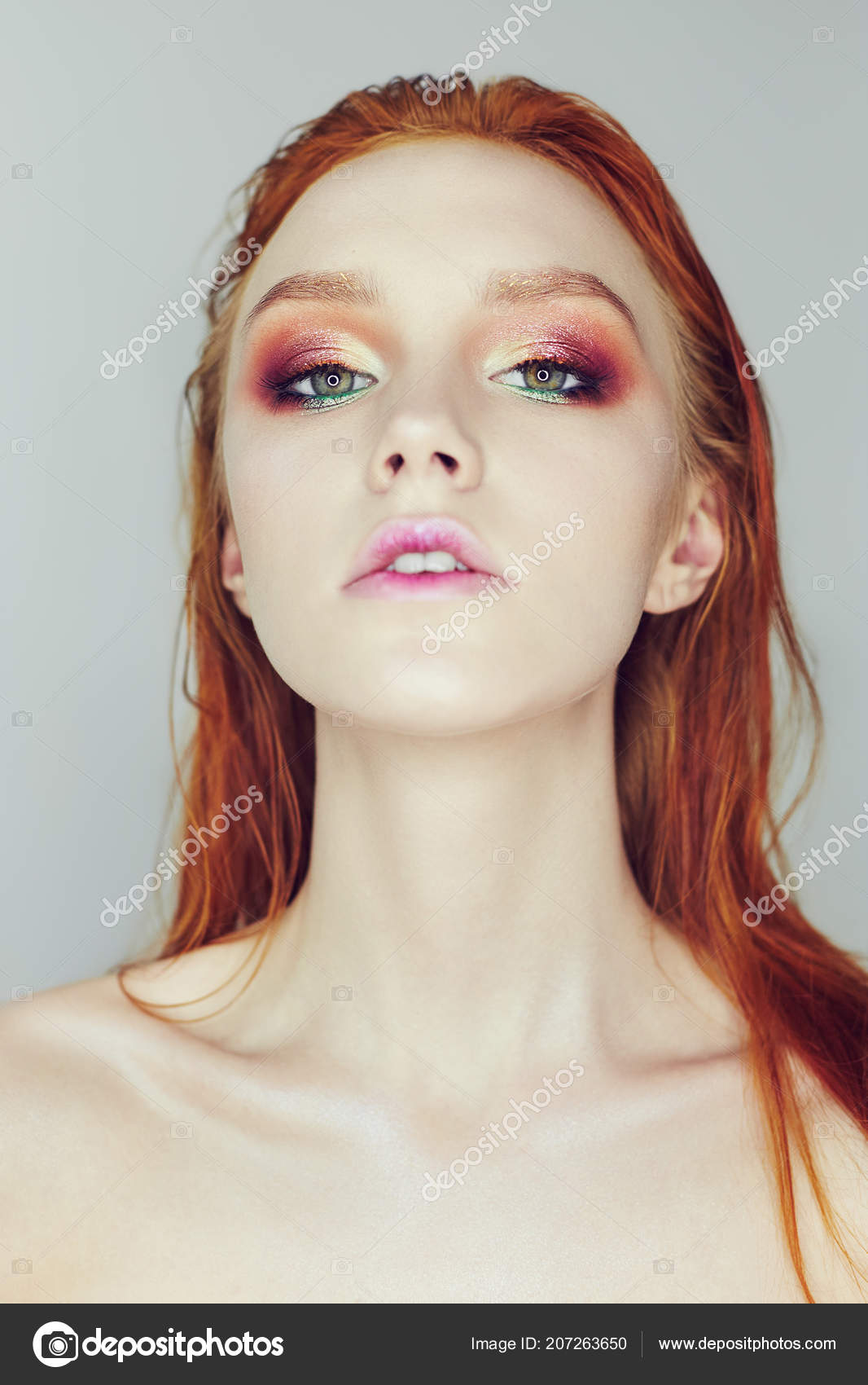 Long hair redhead nude