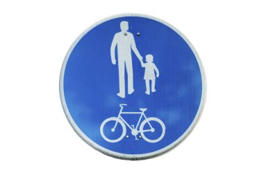 Road sign for bikes and pedestrians isolated on white background