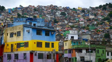 Aerial view of Rio's Rocinha favela, on a sunny afternoon.