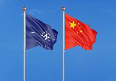 Two waving flags. - 3D illustration. - Illustration