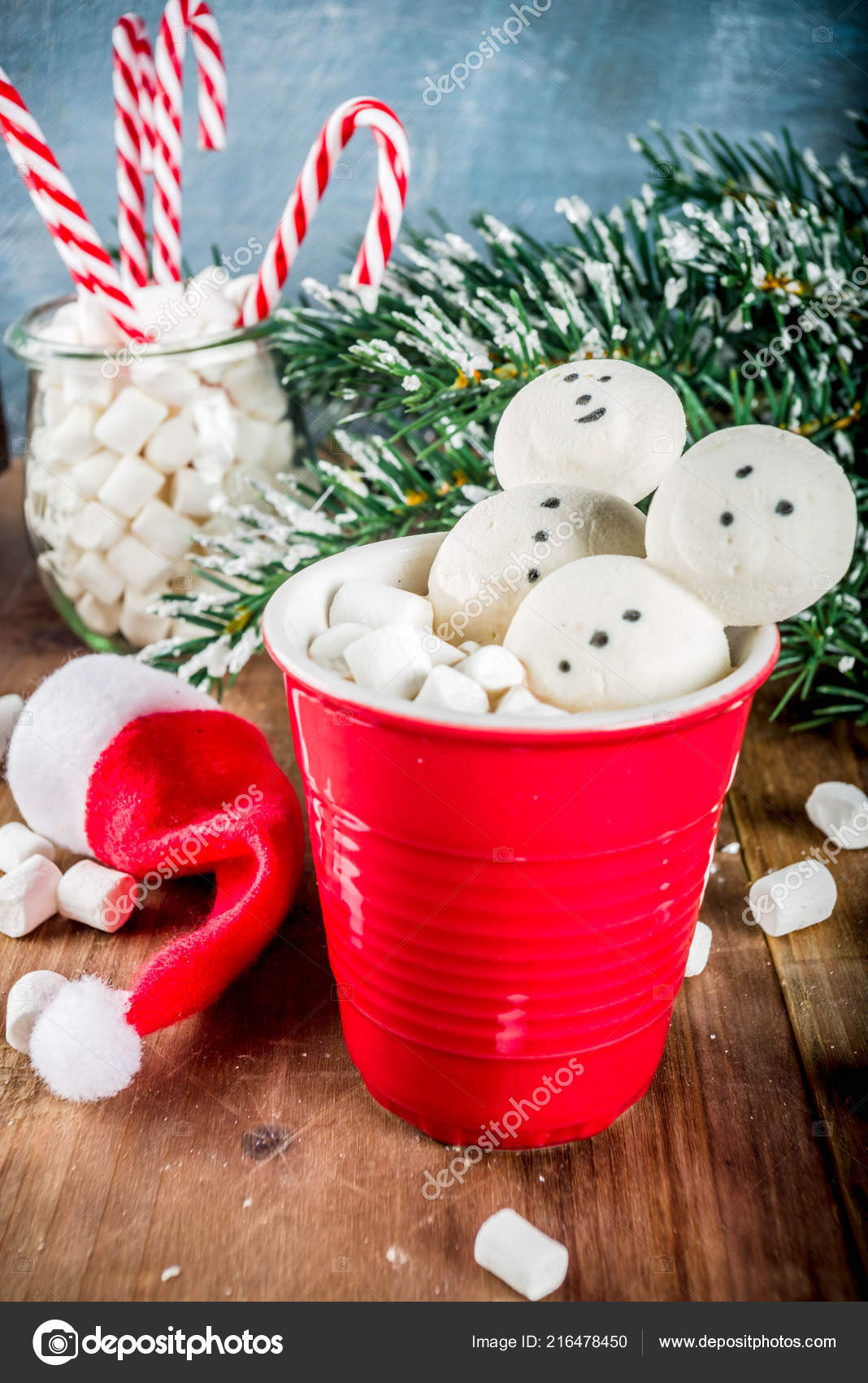 Hot Chocolate Creative Marshmallow Form Snowmen Christmas Decorations Box Wooden Stock Photo C Unixx 0 Gmail Com 216478450