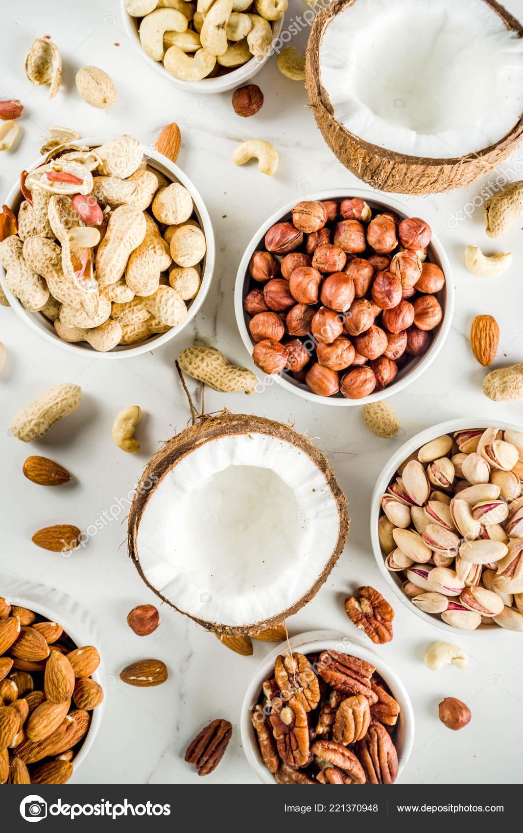 Various Types Nuts Walnuts Pecans Peanuts Hazelnuts Coconut