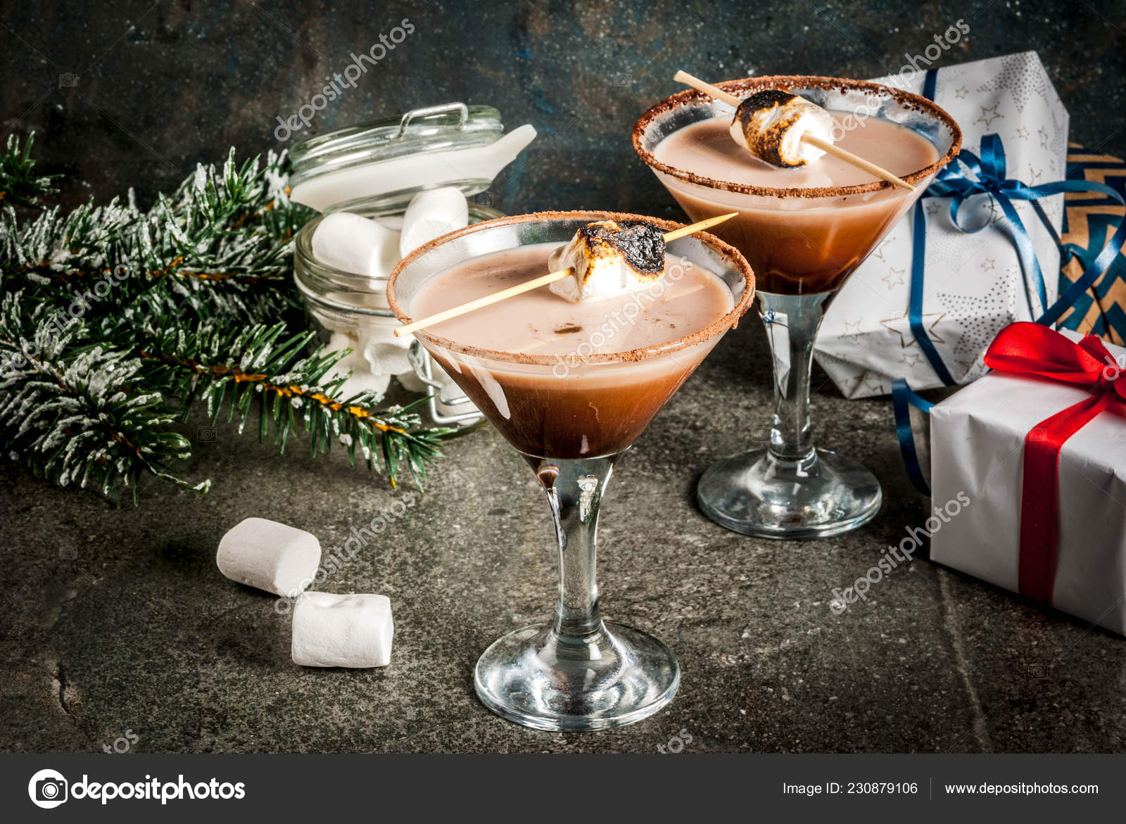 Idee We Nouvel An.Idee Boissons Noel Nouvel Grillees Smores Martini Fond Fonce