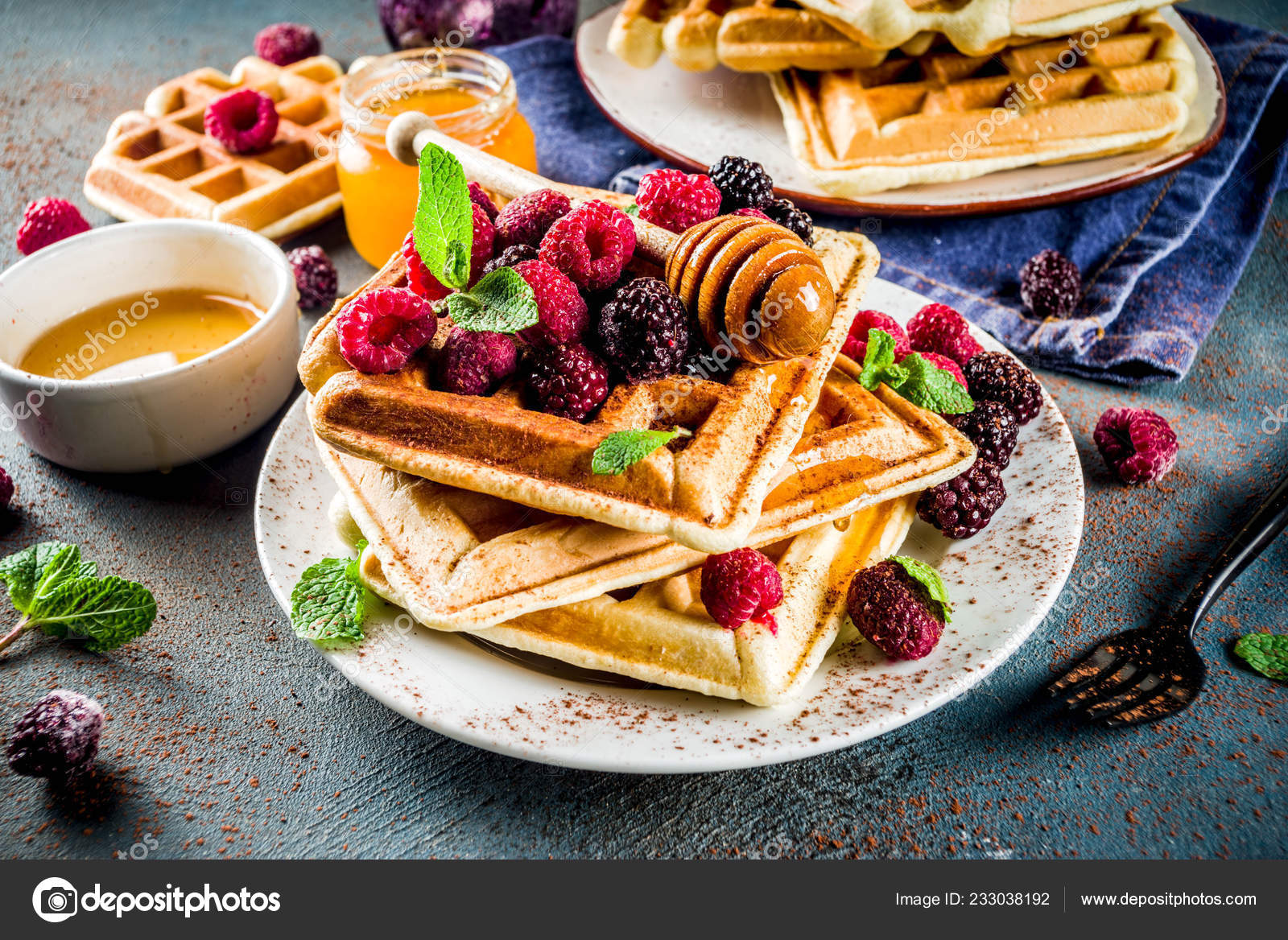 Homemade Belgian Waffles Berries Honey