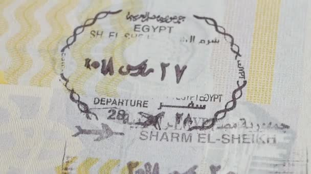 Egypt passport stamp. Entry stamps in passport page