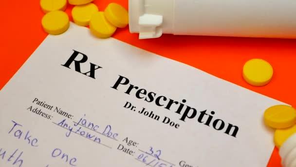 Prescription for tablet pills or drugs