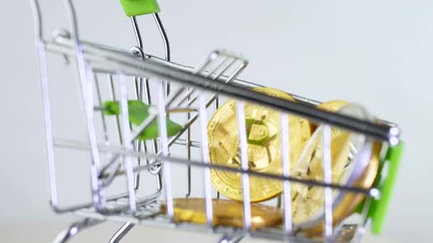 Nákupní košík nebo nákupní košík trhu s kryptoměn bitcoins isoleted