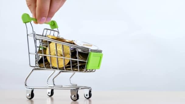 Ruka ovládá nákupní košík nebo nákupní košík trhu isoleted na bílém pozadí