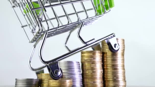 Shopping cart or market basket on stack of money coins